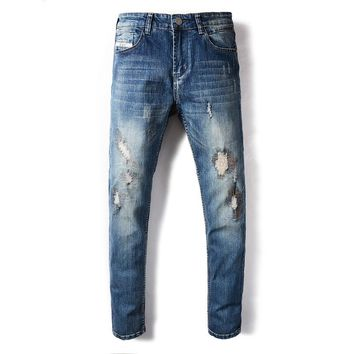 Brand Mens Jeans Blue Color Summer Style Frayed Hole Patchwork Ripped Jeans For Men Elastic Stretch Skinny Jeans Pants
