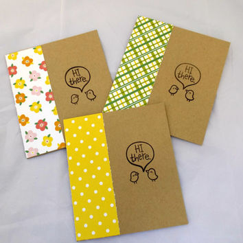 Greeting Cards Set - Hand Made Greeting Cards - Hello Cards - Handstamped Card - Cards with Flowers - Patterned Cards - Card Set