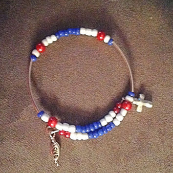 Red, White & Blue Memory Wire Patriotic Bracelet-Curved Tube Bead-Holiday-Cross-Wing-Heart-Angel Butterfly