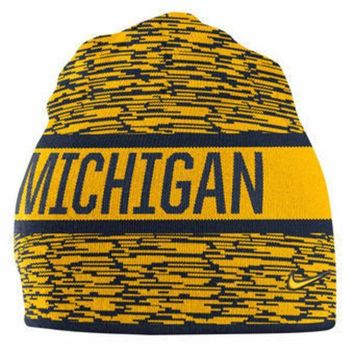 ESBON NCAA Michigan Wolverines Navy Reversible Local DNA Knit Hat