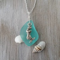 "Design and handmade in Hawaii, ""March Birthstone"" Aqua sea glass necklace, Sea mermaid charm, Freshwater pearl, 925 sterling silver chain"