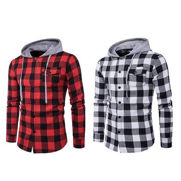 Fashion Men Red Plaid Hooded Sweatshirt Casual Cotton Soft Hoodies Sweatshirts Slim Long Sleeve Pullover Hiphop Shirt