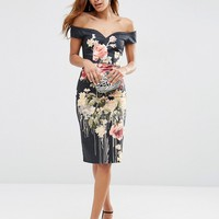 ASOS Dark Floral Off The Shoulder Bardot Hitchcock Midi Pencil Dress