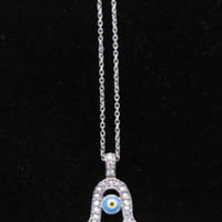 Sterling Silver Hamsa Evil Eye Necklace- Jewish Jewlery | eBay