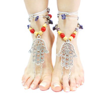 Hamsa Hand Barefoot sandals Tribal Belly Dance Ethnic Wedding Hippie Boho Ankle wrap sandal Toe Thong bare feet Foot jewelry Toe Anklets