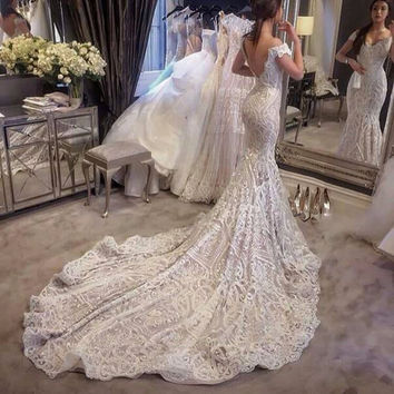 Lace Mermaid Wedding Dresses Sexy V neck Backless Cap Sleeve