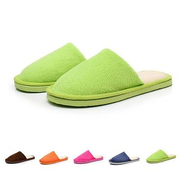 Women's Indoor Slipper Fashion Winter Solid Plush Velvet Cotton Home House Floor Warm Foot Slippers Woman Ladies Non-Slip Shoes
