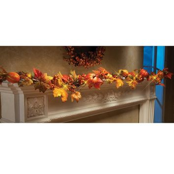 ZMHEGW 1.8M LED Lighted Fall Autumn Pumpkin Maple Leaves Garland Thanksgiving Decor