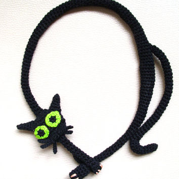 Black cat necklace Crochet necklace Cat necklace Black necklace Crochet jewelry