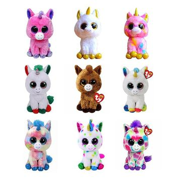 "6"" TY Beanie Boos 15cm Big Eyes Pegasus Pixy Fantasia Candy Cane Magic Harmonie Unicorn Plush Stuffed Animal Toy Christmas Gift"