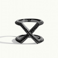 Women's Exquis 8:17 Ring - Black Silver + Onyx