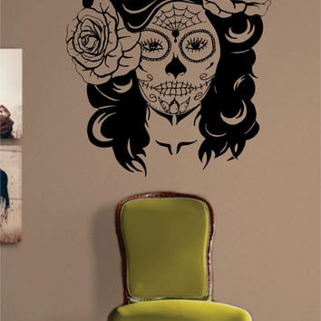 Day of the Dead Girl Decal Sticker Wall Vinyl Art Day of the Dead