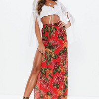 Missguided - Red Tropical Print Side Split Maxi Skirt