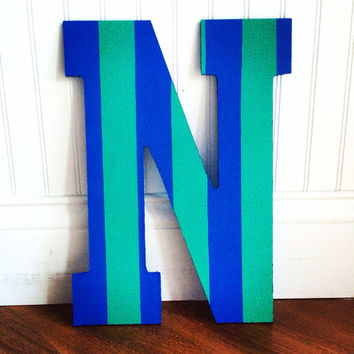 Striped painted letter 13""