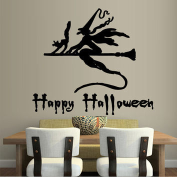 Wall decal decor decals art sticker halloween witch holiday happy party cat inscription word quote broom (m477)