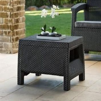 Modern Wicker Patio Coffee Table Outdoor Rattan Backyard Garden Deck Charcoal