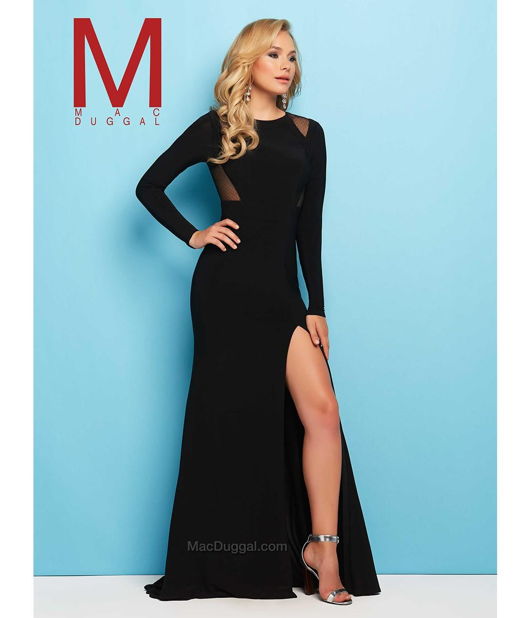 Preorder - Mac Duggal 65524L Black Fitted from Unique Vintage