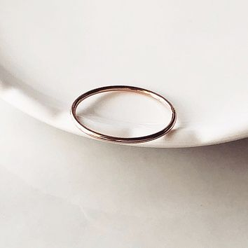 Simple rose gold stacking ring
