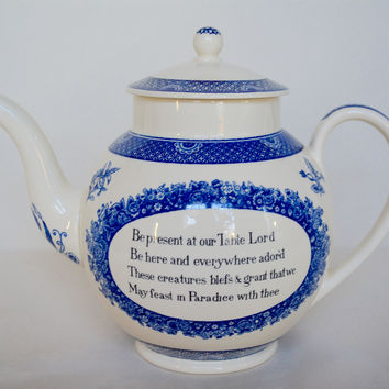Antique Blue English Transferware Advertising Teapot Pitcher with Prayer - Be present at our table Lord - Wesley