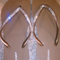 REAL Swarovski Crystals on Copper Flip Flops- Size 8