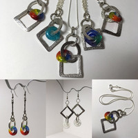 Handmade Glass Dangle Pendant - Matching Earrings also available - Small Business Saturday Discount