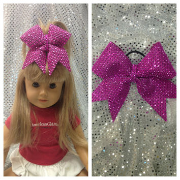 Cheer Bow for American Girl - Matching set of little girls bow & doll rhinestone