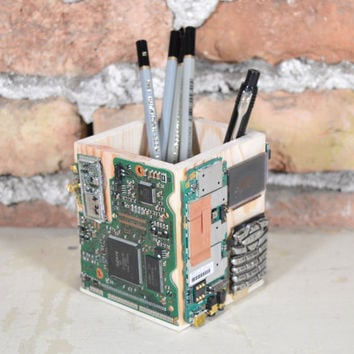 Handmade pencil holder Recycled electronics pen holder Office desk decor organizer Man cave Mobile phone pencil holder Cell phone pen holder