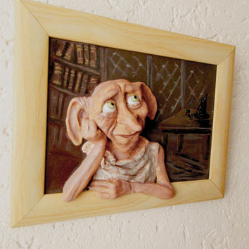 Dobby, Free Dobby, Harry Potter, Funny 3d wall art, polymer clay picture, handmade