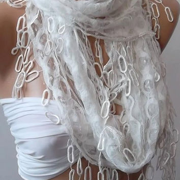White  lace and Elegance Shawl -- Scarf -- with Lace Edge---