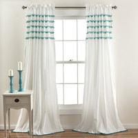 Abrianna Boho Teal Pom Pom Window Curtain Panel SET