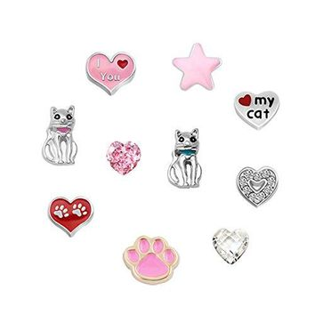 LovelyCharms 10 pcs Love Cat Floating Charms For Glass Living Memory Lockets Necklace amp Bracelets
