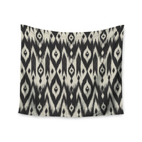 "Amanda Lane ""Black Cream Tribal Ikat"" Tan Dark Wall Tapestry"