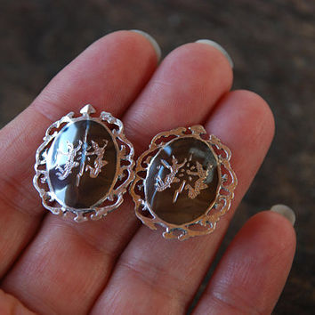 Vintage Siam Sterling Clip On Earrings 925 Sterling Silver Nielloware Etched Thai Female Dancer Mother's Day 1950's / Vintage Silver Jewelry