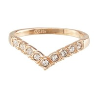 FM42 18k Yellow Gold Plated Princess Crown Design CZ Channel Set Wishbone Ring Size 3-9