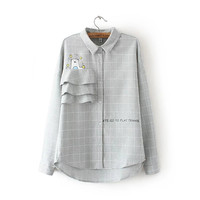 Cotton Plaid Shirt Long Sleeve Jacket [8542249863]