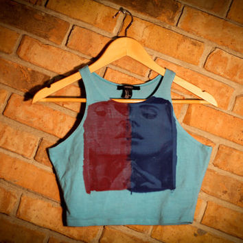 The Lana Del Rey- Light Blue Crop Tank Top. Size S