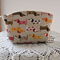 Linen Clutch Cosmetic Bag  Purse Doxies on Parade Made in USA