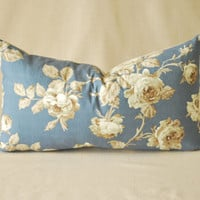 "Vintage Pillow Cover Shabby Chic Blue Roses and French Ticking 14""x24"""