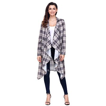 Apricot Hipster Plaid Draped Open Front Cardigan