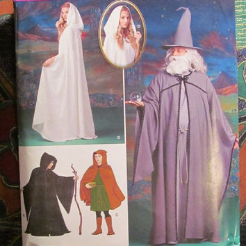 SALE Uncut Simplicity Sewing Pattern, 0208! Women's/Men's/Teens/Capes/Tunics/Hats/Wizard Costumes/Little Red Riding Hood/Long Capelet