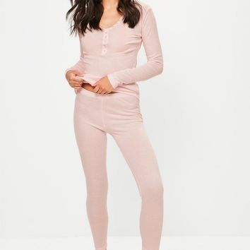 Missguided - Pink Ribbed Top & Leggings Pyjama Set