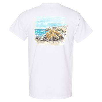 Coastlines Designs Peninsula Beach View on a White Short Sleeve T Shirt