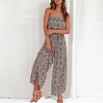 8DESS Off shoulder sexy jumpsuit women elegant Sashes jumpsuit long rompers solid leopard print overalls playsuit