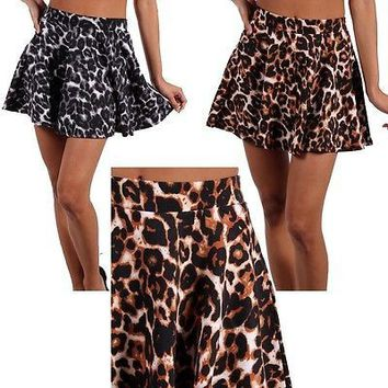 Sexy Animal Print Stretch Pleated A-Line Flare Pleated Skater Peplum Mini Skirt