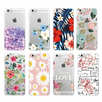 2016 Floral Flowers Rose Daisy Cherry Blossom Fashion Soft TPU Phone Case Cover For iPhone 6 6plus 7  7Plus 8 8plus X