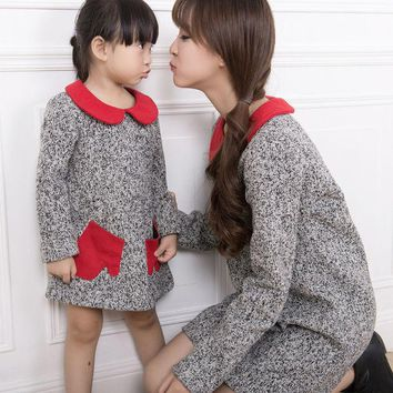 DCCKWQA Mother daughter dresses woolen dress long sleeve dress Family clothing sets Vestido de familia mother daughter matching clothes