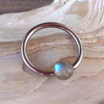 Captive Labradorite Bead Septum Upper Ear Daith Rook,Tragus,Cartilage,Hoop Earring,Nose Ring,Eyebrow Ring Body Jewelry 316L Surgical Steel Diameter:10mm,Gauge 16 (1.2mm)