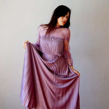 victorian LACE dress / accordian PLEATS lilac by vintagemarmalade