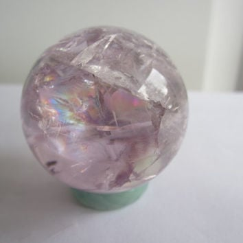 Light and Clear Amethyst Quartz Carved Crystal Sphere Ball with Large Rainbow
