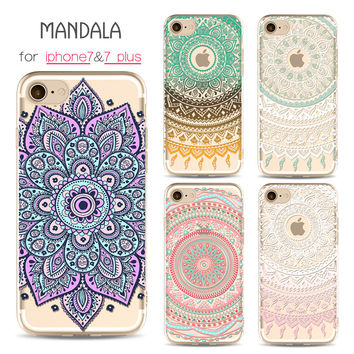 For Iphone Cases Painted Mandala Phone Case For Apple Iphone 7 7Plus Case Tpu For Iphone 6 6S 6Pius 6Spius Case Slim Phone Shell
